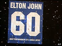 A banner to mark Sir Elton's 60th concert at the venue