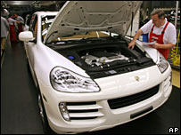 Porsche Cayenne on assembly line