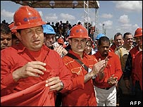 President Hugo Chavez at a PDVSA oil rig