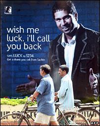 India star Sachin Tendulkar in a street advertisement