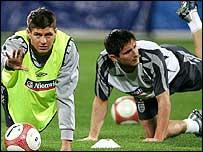 England midfielders Steven Gerrard (left) and Frank Lampard