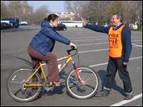 Reporter Lucy Rodgers doing Bikeability training