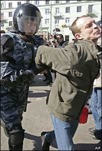 A policeman arrests a protester in Nizhny Novgorod on 24 March 2007