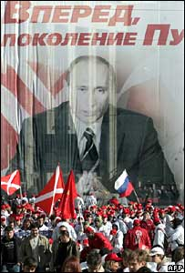 Activists of the pro-Kremlin Nashi (Our People) movement march in front of President Putin's poster in Moscow on 25 March 2007