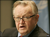 United Nations envoy for Kosovo Martti Ahtisaari