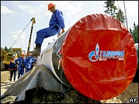 Gas pipe destined for the Nord Stream pipeline
