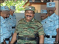"A Tamil Tigers picture of rebel leader Vellupillai Prabhakaran with the Tamil ""air force"""
