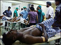 A wounded Sri Lankan soldier following a Tamil Tiger air raid
