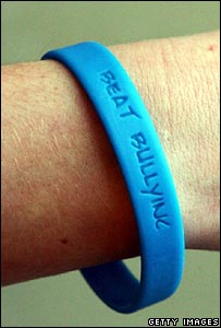 blue anti-bullying wristband