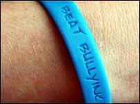 blue anti-bullying wristband