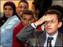 Sarkozy at a meeting with young people in Perpignan