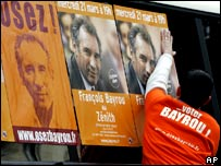A young supporter of centrist presidential candidate Francois Bayrou