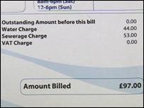 A sample water bill