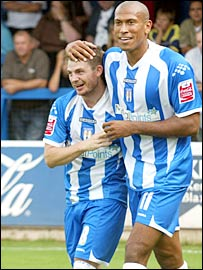 Colchester strike pair Jamie Cureton (left) and Chris Iwelumo- picture courtesy of Colchester United FC