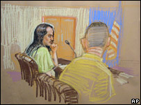 Sketch of David Hicks (left) in court on 26 March 2007