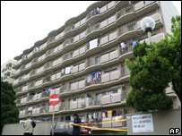 The apartment block where the body was found