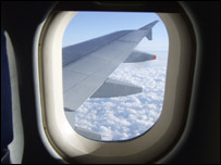 View of a plane wing from a window