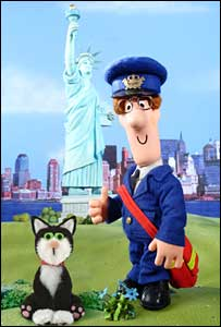 Postman Pat and cat Jess by Statue of Liberty