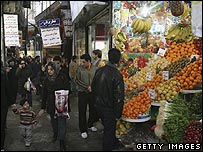 Shoppers in a market in Tehran