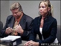 Kim Mathers with lawyer Michael Smith in Macomb County Circuit Court
