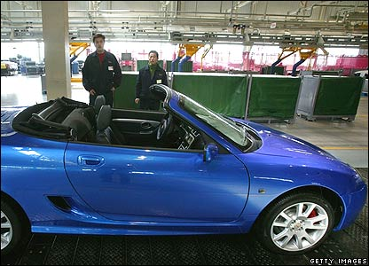 An MG TF Roadster convertible