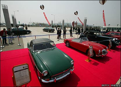 Vintage MG models on show in Nanjing
