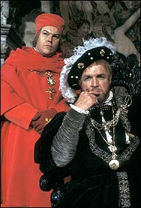 Timothy West as Wolsey (L) and John Stride as Henry VIII in a 1979 BBC production