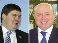 Aigars Kalvitis (L) and Mikhail Fradkov
