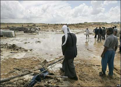 Palestinians at the scene of the accident