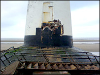 Storm damage at the Point of Ayr lighthouse