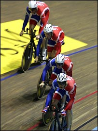 Team GB, including Hayles (second from top) won the World Cup team pursuit in Manchester in February.