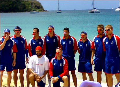 The England team sporting red noses in St Lucia