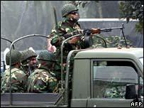 Troops on patrol in Dhaka