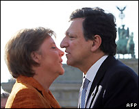 Angela Merkel and Jose Manuel Barroso