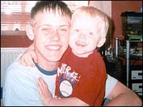 Murder victim Peter Woodhams with his son Sam