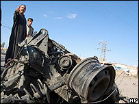Remains of a car bomb in Ramadi