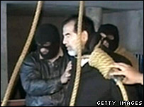 Saddam Hussein on the gallows in an image taken from television, Dec 2006