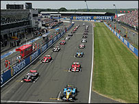 Cars line up on the grid for the start of the 2006 British Grand Prix