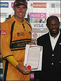 Matthew Hayden with the Prime Minister of St Kitts & Nevis, Denzil Douglas