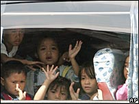Children on seized bus in Manila