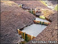 Gulley on bog. Image: National Trust