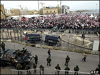 Army deployed in central Beirut. February 2007