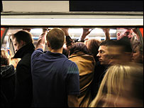 Overcrowded Tube train