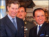 Pr�ncipe Carlos de Gales y ex presidente argentino Carlos Menem