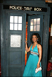 Freema Agyeman poses outside the Tardis