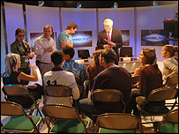 David Dimbleby talking to students in 2006
