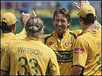 Glenn McGrath celebrates the vital wicket of Chris Gayle