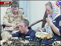Captured personnel eating