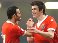 Wales goalscorers Ryan Giggs and Gareth Bale