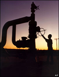 Oil well in silhouette. Image: AP